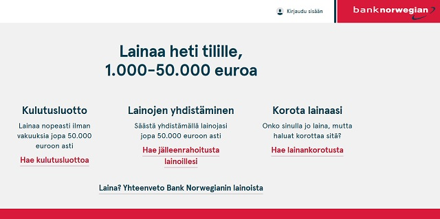 Bank Norwegianilta saat pankkilainatarjouksen heti 50000 euroon asti