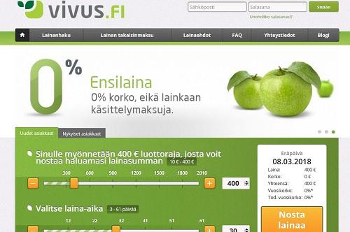 Jos jostain saat hyvän tarjouksen, niin Vivukselta. Suomen ensimmäinen ilmaislaina on yhä tarjolla!